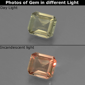 Green to Pink Color-Change Diaspore Gem - 0.9ct Octagon Facet (ID: 439674)
