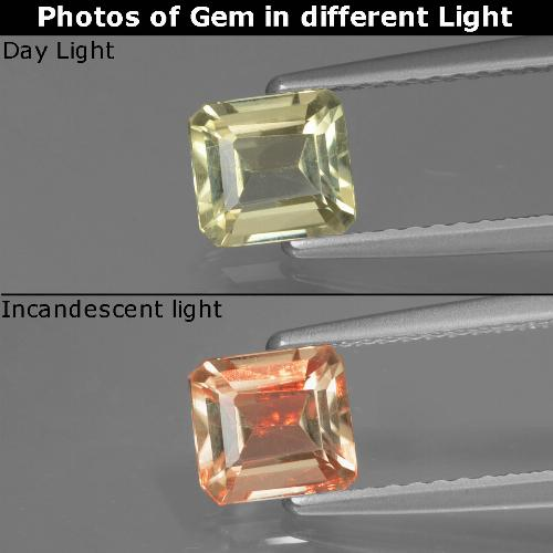 Green to Pink Color-Change Diaspore Gem - 0.8ct Octagon Facet (ID: 439684)