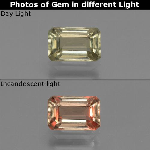 Brownish Yellow Color-Change Diaspore Gem - 1ct Octagon Facet (ID: 439734)