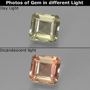 Green to Pink Color-Change Diaspore Gem - 0.9ct Octagon Facet (ID: 439866)