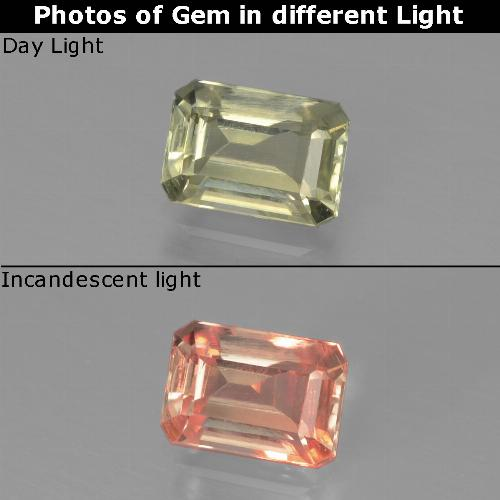 Very Light Yellow Diásporo con Cambio de Color Gema - 0.9ct Forma octagonal (ID: 439867)