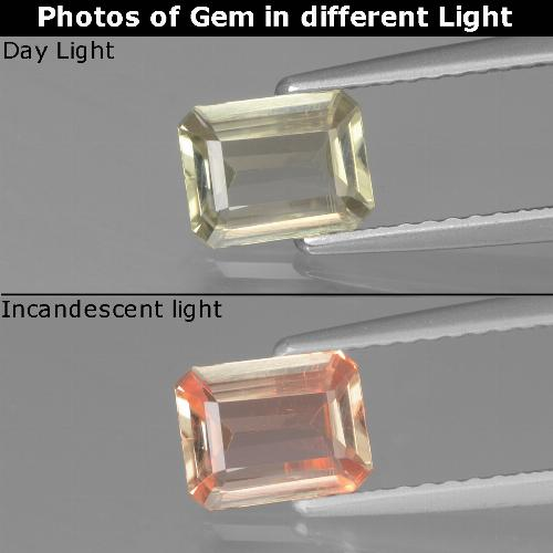 Green to Pink Color-Change Diaspore Gem - 0.8ct Octagon Facet (ID: 439869)