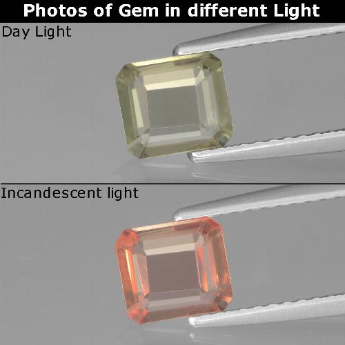 Green to Pink Color-Change Diaspore Gem - 0.8ct Octagon Facet (ID: 439874)