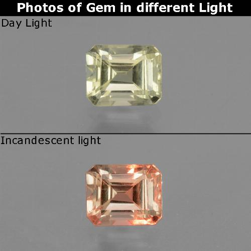 Very Light Yellow Diásporo con Cambio de Color Gema - 0.7ct Forma octagonal (ID: 439962)