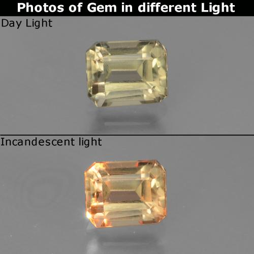 Very Light Yellow Color-Change Diaspore Gem - 1ct Octagon Facet (ID: 440022)