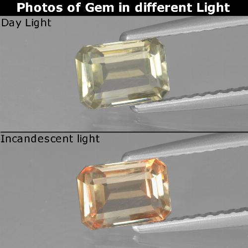 Green to Pink Color-Change Diaspore Gem - 0.8ct Octagon Facet (ID: 440025)
