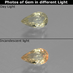 Green to Pink Color-Change Diaspore Gem - 0.6ct Pear Facet (ID: 440031)