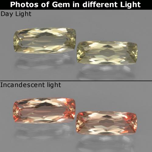 Very Light Yellow Color-Change Diaspore Gem - 1.3ct Cushion-Cut (ID: 451570)