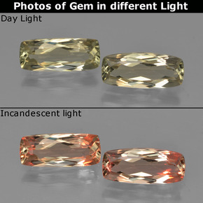 Very Light Golden-Yellow Color-Change Diaspore Gem - 1.3ct Cushion-Cut (ID: 451601)