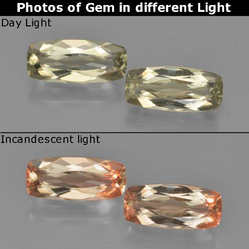 Very Light Golden-Yellow Color-Change Diaspore Gem - 1.2ct Cushion-Cut (ID: 451609)