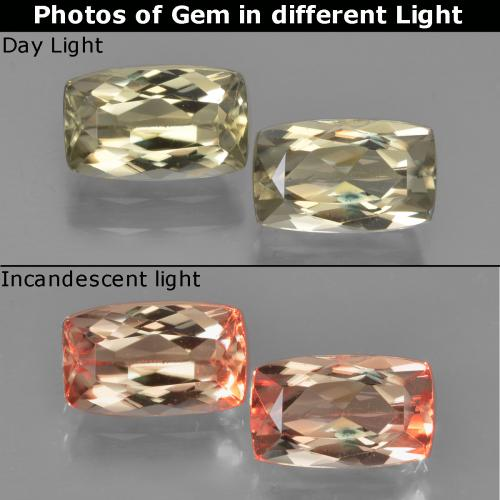 Very Light Yellow Color-Change Diaspore Gem - 1.2ct Cushion-Cut (ID: 451649)