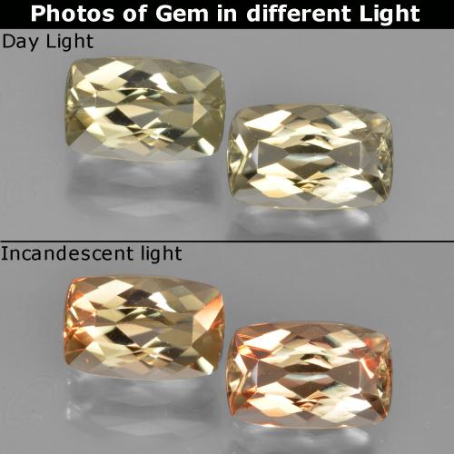 Warm Yellow Color-Change Diaspore Gem - 1.3ct Cushion-Cut (ID: 451657)