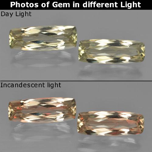 Very Light Golden-Yellow Diásporo con Cambio de Color Gema - 1.4ct Corte en Forma Cojín (ID: 451660)