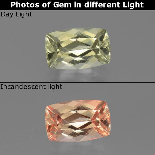 Green to Pink Color-Change Diaspore Gem - 1.3ct Cushion-Cut (ID: 451683)
