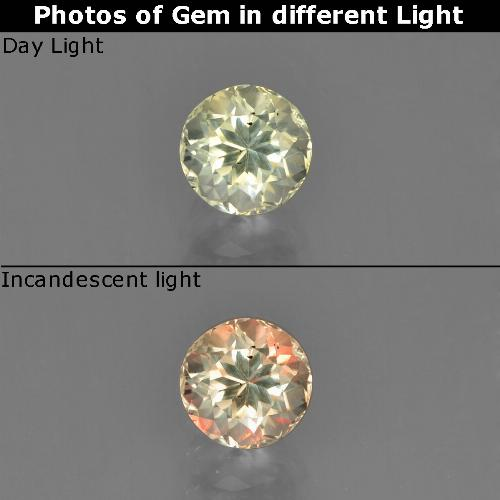 Green to Pink Color-Change Diaspore Gem - 0.6ct Round Facet (ID: 452225)