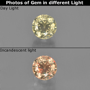 Very Light Yellow Color-Change Diaspore Gem - 0.7ct Round Facet (ID: 452227)