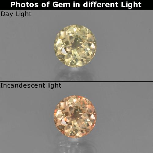 Green to Pink Color-Change Diaspore Gem - 0.7ct Round Facet (ID: 452228)