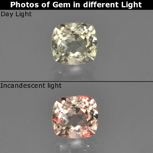 Green to Pink Color-Change Diaspore Gem - 0.8ct Cushion-Cut (ID: 452440)