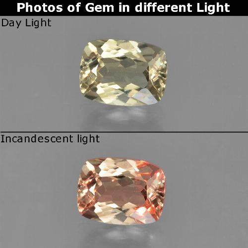 Green to Pink Color-Change Diaspore Gem - 0.9ct Cushion-Cut (ID: 452446)