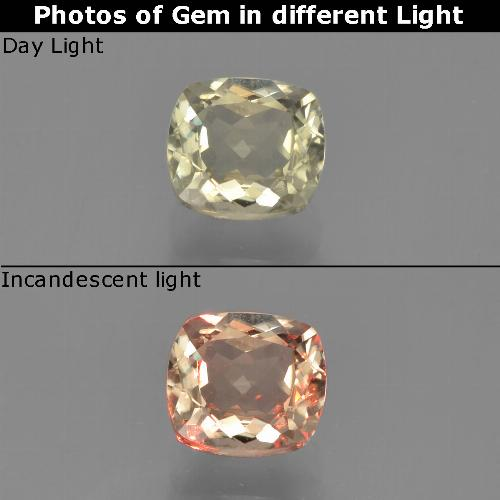 Green to Pink Color-Change Diaspore Gem - 0.8ct Cushion-Cut (ID: 452448)