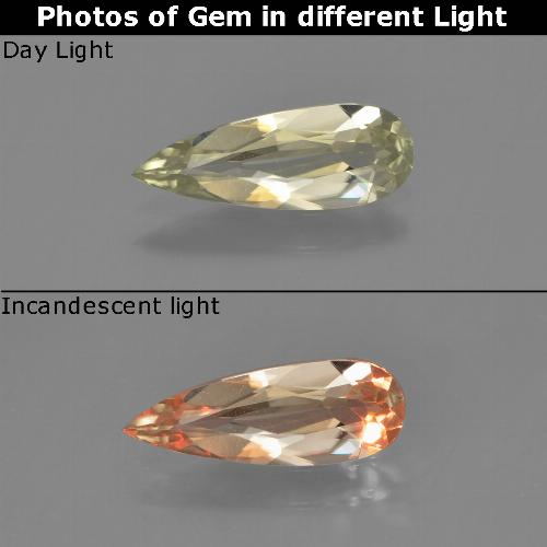 Green to Pink Color-Change Diaspore Gem - 0.8ct Pear Facet (ID: 453892)