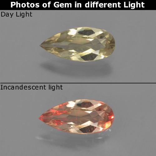 Green to Pink Color-Change Diaspore Gem - 0.6ct Pear Facet (ID: 453896)
