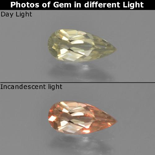 Green to Pink Color-Change Diaspore Gem - 0.6ct Pear Facet (ID: 453898)
