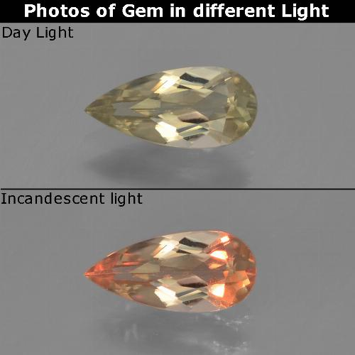 Green to Pink Color-Change Diaspore Gem - 0.7ct Pear Facet (ID: 453900)