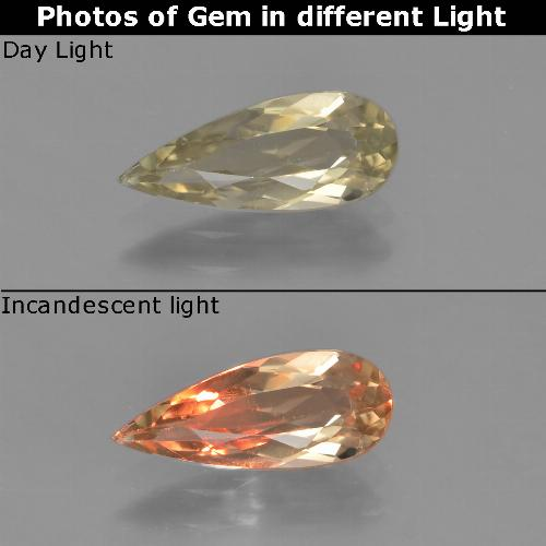 Warm Yellow Color-Change Diaspore Gem - 1.1ct Pear Facet (ID: 453928)