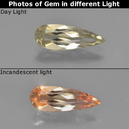 Earthy Yellow Color-Change Diaspore Gem - 1.1ct Pear Facet (ID: 453929)