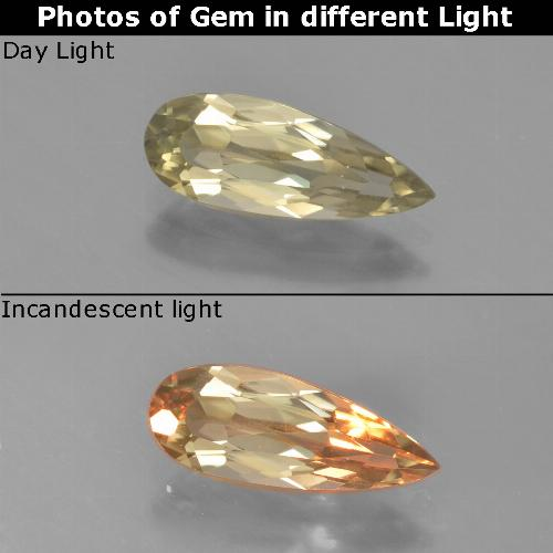 Green to Pink Color-Change Diaspore Gem - 1.3ct Pear Facet (ID: 453933)