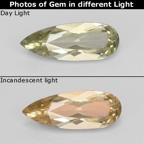 Very Light Yellow Diásporo con Cambio de Color Gema - 1.2ct Corte en forma de pera (ID: 453938)