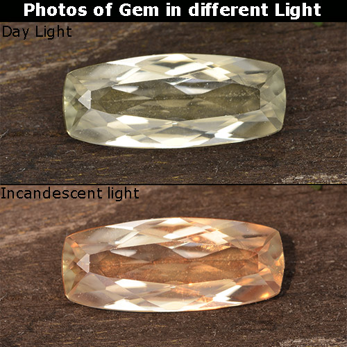 Light Yellow Color-Change Diaspore Gem - 1.2ct Cushion-Cut (ID: 454000)