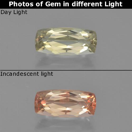 Very Pale Yellow Color-Change Diaspore Gem - 1.2ct Cushion-Cut (ID: 454007)