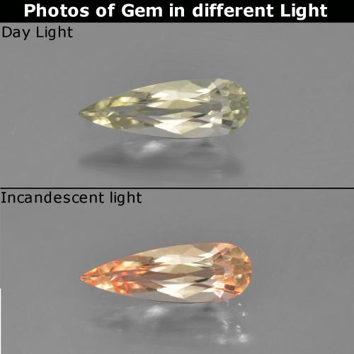 Green to Pink Color-Change Diaspore Gem - 0.8ct Pear Facet (ID: 454037)