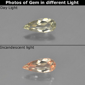 Green to Pink Color-Change Diaspore Gem - 0.5ct Pear Facet (ID: 454039)