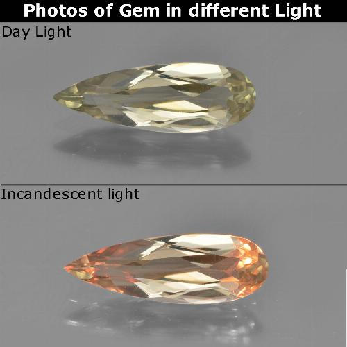 Brownish Yellow Color-Change Diaspore Gem - 1.2ct Pear Facet (ID: 454040)