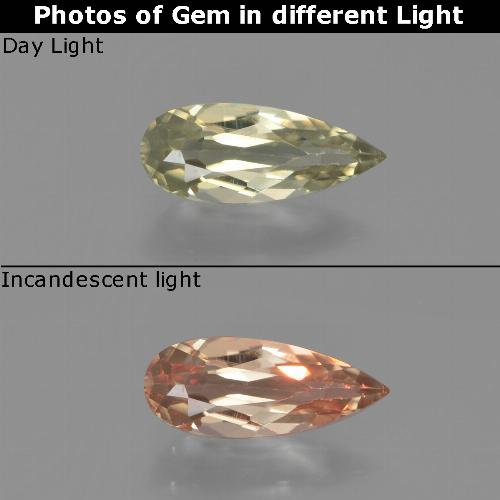 Green to Pink Color-Change Diaspore Gem - 0.8ct Pear Facet (ID: 454044)