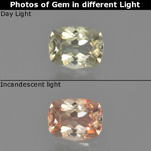Green to Pink Color-Change Diaspore Gem - 0.6ct Cushion-Cut (ID: 454075)