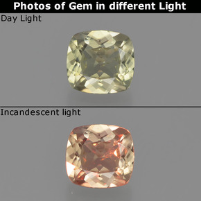 Green to Pink Color-Change Diaspore Gem - 0.7ct Cushion-Cut (ID: 454076)