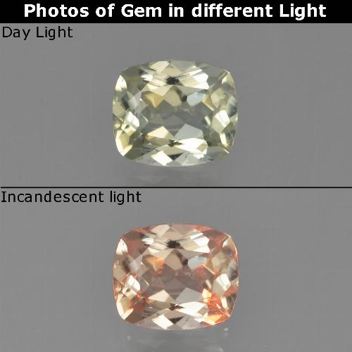 Green to Pink Color-Change Diaspore Gem - 0.8ct Cushion-Cut (ID: 454078)