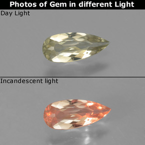 Green to Pink Color-Change Diaspore Gem - 0.5ct Pear Facet (ID: 454181)
