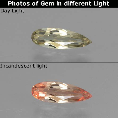 Green to Pink Color-Change Diaspore Gem - 0.6ct Pear Facet (ID: 454184)