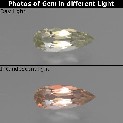 Very Light Yellow Color-Change Diaspore Gem - 0.8ct Pear Facet (ID: 454187)