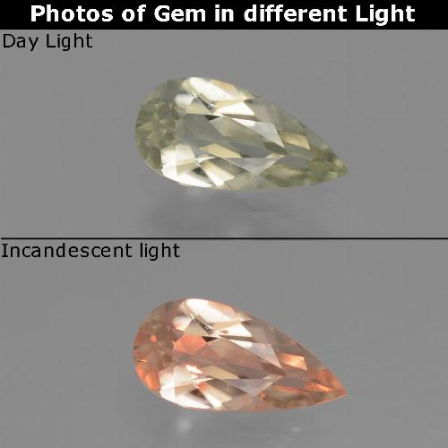 Very Light Yellow Color-Change Diaspore Gem - 0.7ct Pear Facet (ID: 454188)