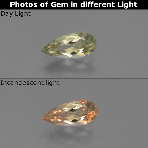 Green to Pink Color-Change Diaspore Gem - 1ct Pear Facet (ID: 454209)