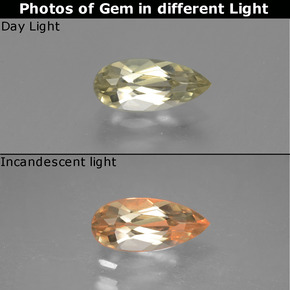 Green to Pink Color-Change Diaspore Gem - 1.2ct Pear Facet (ID: 454211)
