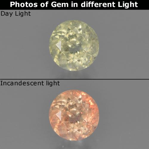 Green to Pink Color-Change Diaspore Gem - 0.6ct Round Facet (ID: 454261)