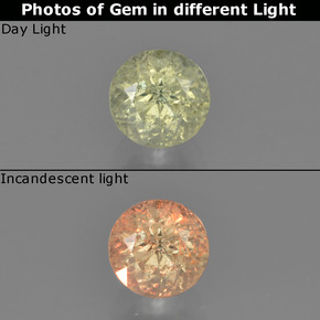Green to Pink Color-Change Diaspore Gem - 0.7ct Round Facet (ID: 454262)