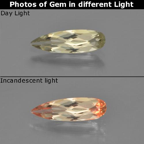 Green to Pink Color-Change Diaspore Gem - 0.8ct Pear Facet (ID: 454311)